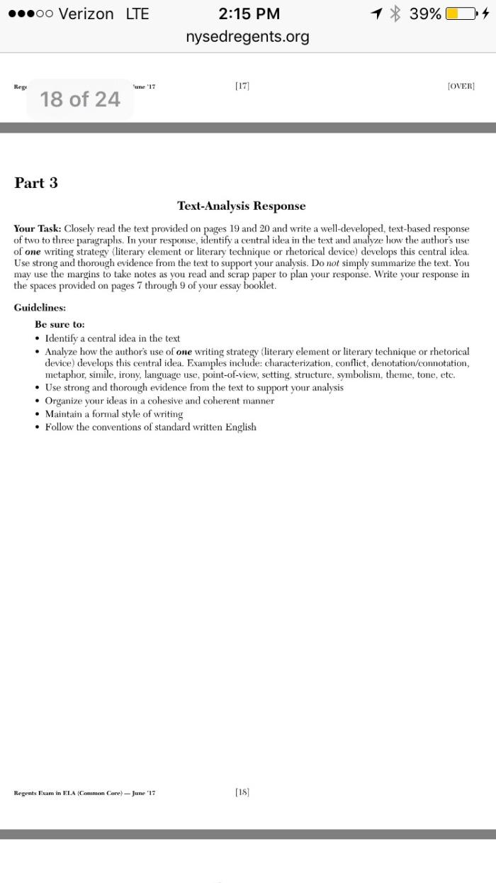 Gendler English 5 Summer Assignment