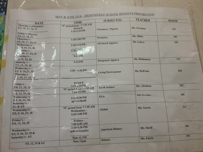 Regents Tutoring Schedule