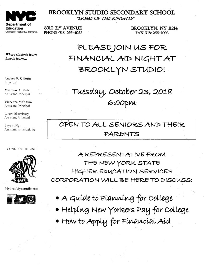 Join us on Tuesday, October 23rd at 6:00 pm to learn about the Financial Aid Application for college!