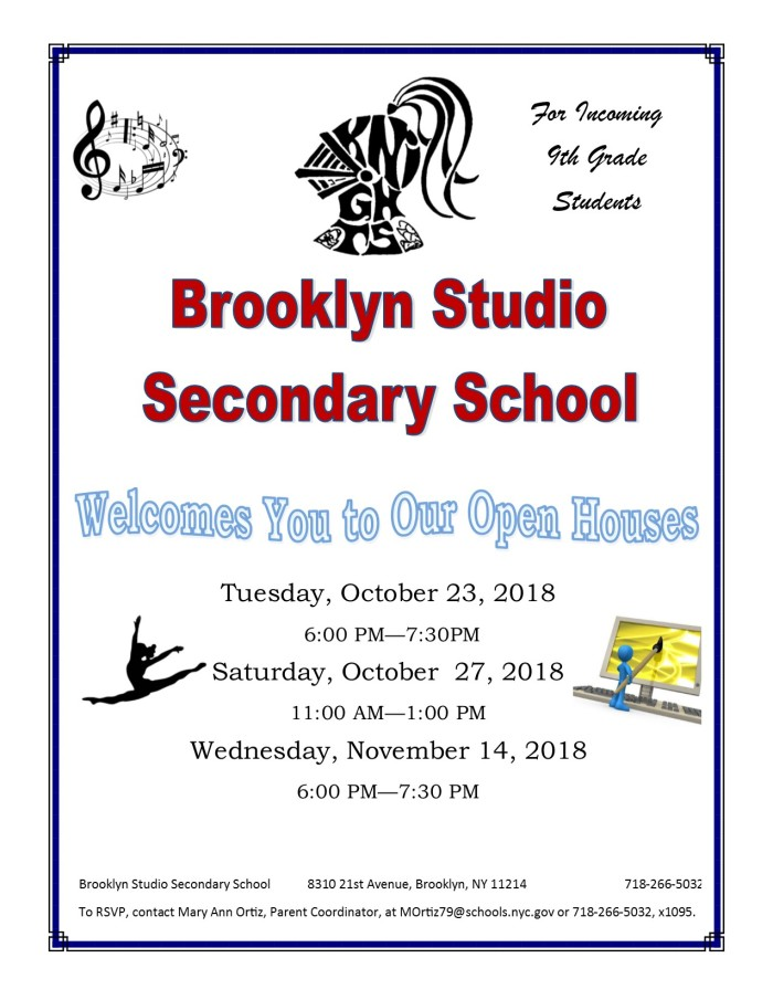 Open Houses will be held on Tuesday, October 23rd from 6 pm to 7:30 pm; Saturday, October 27th from 9 am to 11 am; and Wednesday, November 14th from 6 pm to 7:30 pm.